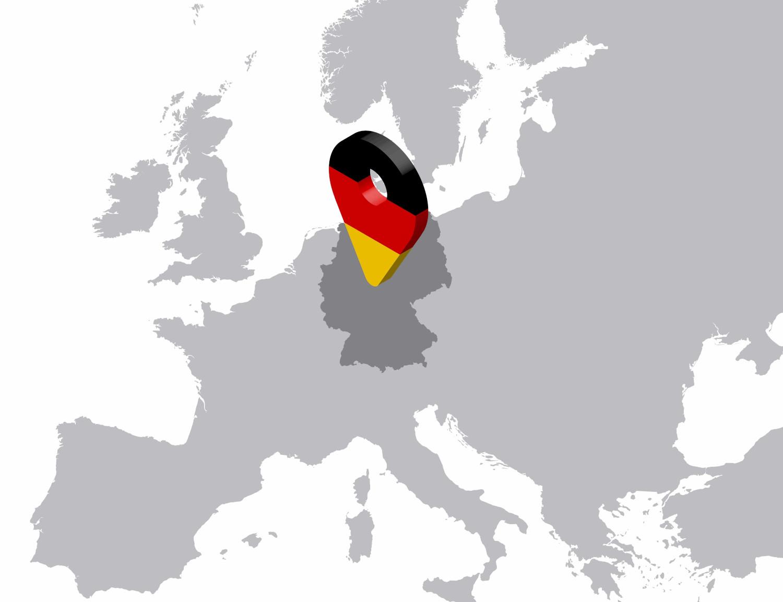 Vendre en Allemagne, carte de l'Europe avec le symbole de localisation sur l'Allemagne