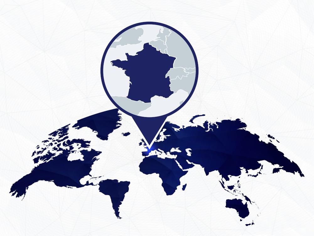 Weltkarte mit einem Fokus auf Frankreich und die Geschäftsstelle in Frankreich